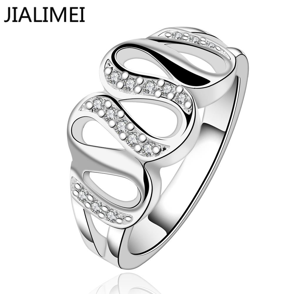2017 real cubic zirconia anillos trendy jewelry rings wholesale r615-8 sterling silver 925 finger for lady accessories gifts