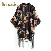 Bohoartist Для женщин летом мыс Цветочный принт шифон элегантный завернутый Tie Dye кисточкой богемный шик Повседневное дамы пляжный отдых накидка