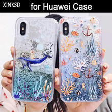 Liquid Quicksand Glitter Case For Huawei P Smart P10 P20 lite Nova 3 3i 3E 2S On Honor 9 10 V10 7C 7X Y7 pro Y9 2018 Cover Coque(China)
