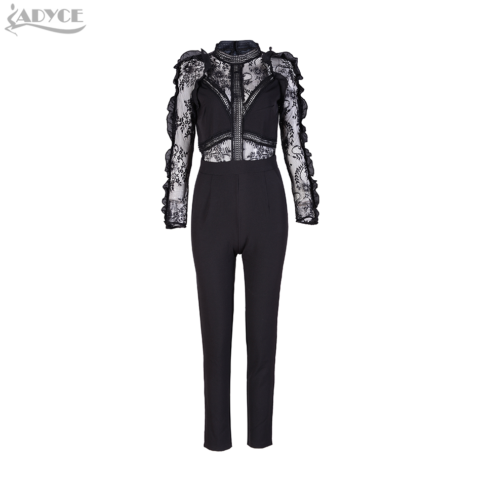 2017 Women Rompers Jumpsuits Black Chic Patchwork Lace Stand Collar Long Sleeve Full Length Celebrity Party Playsuits Wholesale