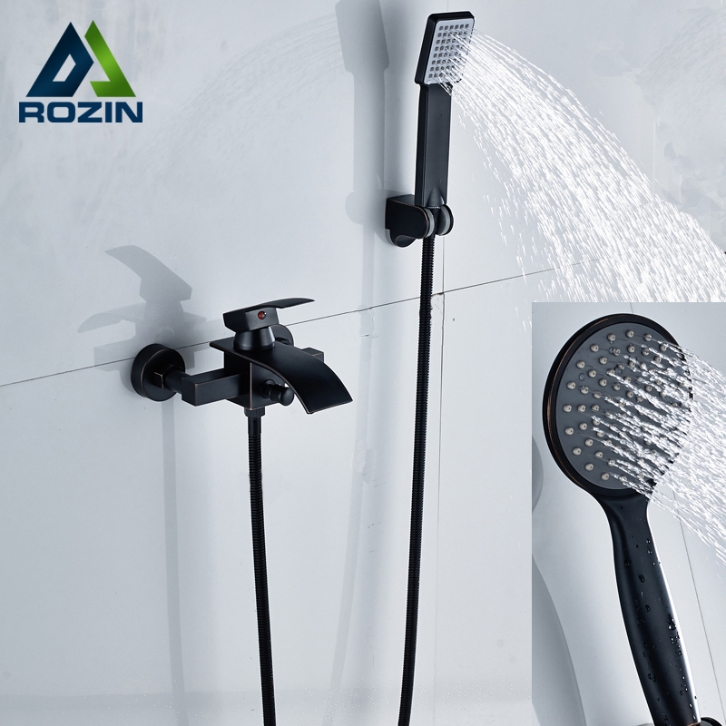 Two Style Wall Mounted Shower Faucets Plastic Handshower In-Wall Shower Faucet Blackened Finish
