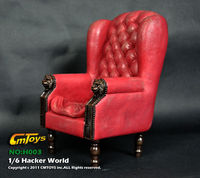 1/6th Vermelho Único Sofá Sofá Mobiliário Cadeira de PVC Fit 12