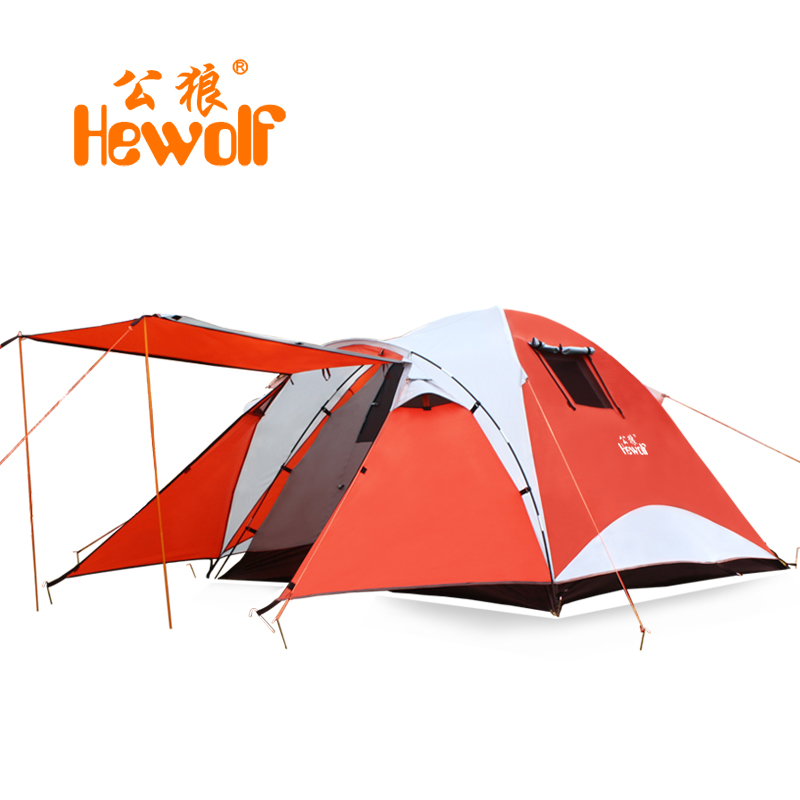 Hewolf outdoor tent 3-4 person multiplayer double bunk wild beach camping equipment camping rain fiber glass pole&aluminum pole high quality outdoor 2 person camping tent double layer aluminum rod ultralight tent with snow skirt oneroad windsnow 2 plus