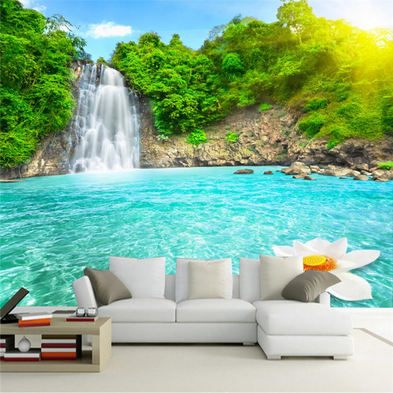 Beibehang Wallpaper Mural Wall Sticker Waterfall River 3D TV Background Wall Papel De Parede Wallpaper For Walls 3 D