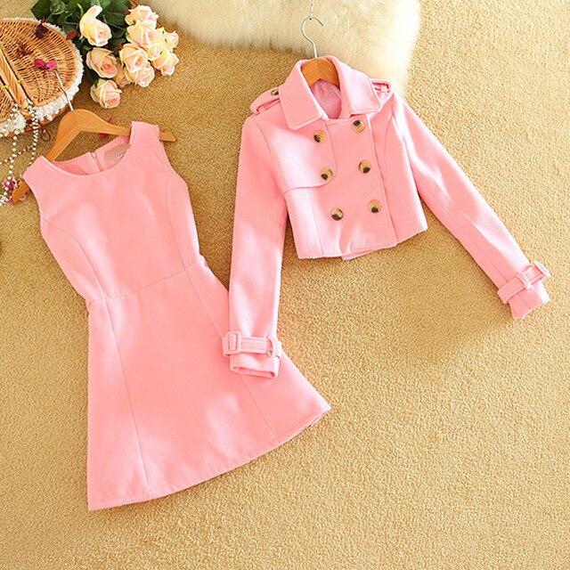 Womens Wool Suits Skirts Clothing Sets Dress+Fashion Tops Flounce Shirt Spring Fashion Slim Waist