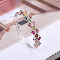 gemstone jewelry factory wholesale SGARIT brand white gold 925 sterling silver natural blue topaz adjustable bracelet for women