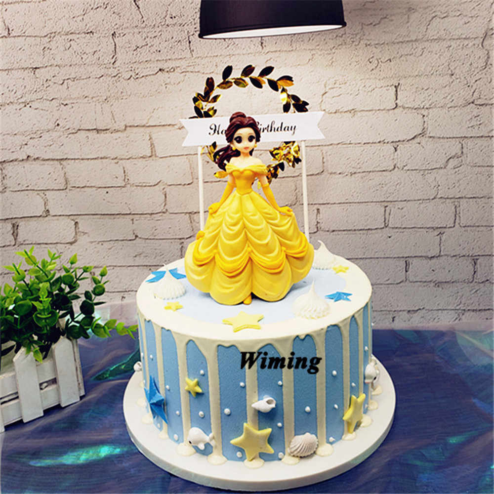Fabulous Princess Belle Cupcake Toppers First Birthday Party Toys For Girls Funny Birthday Cards Online Alyptdamsfinfo