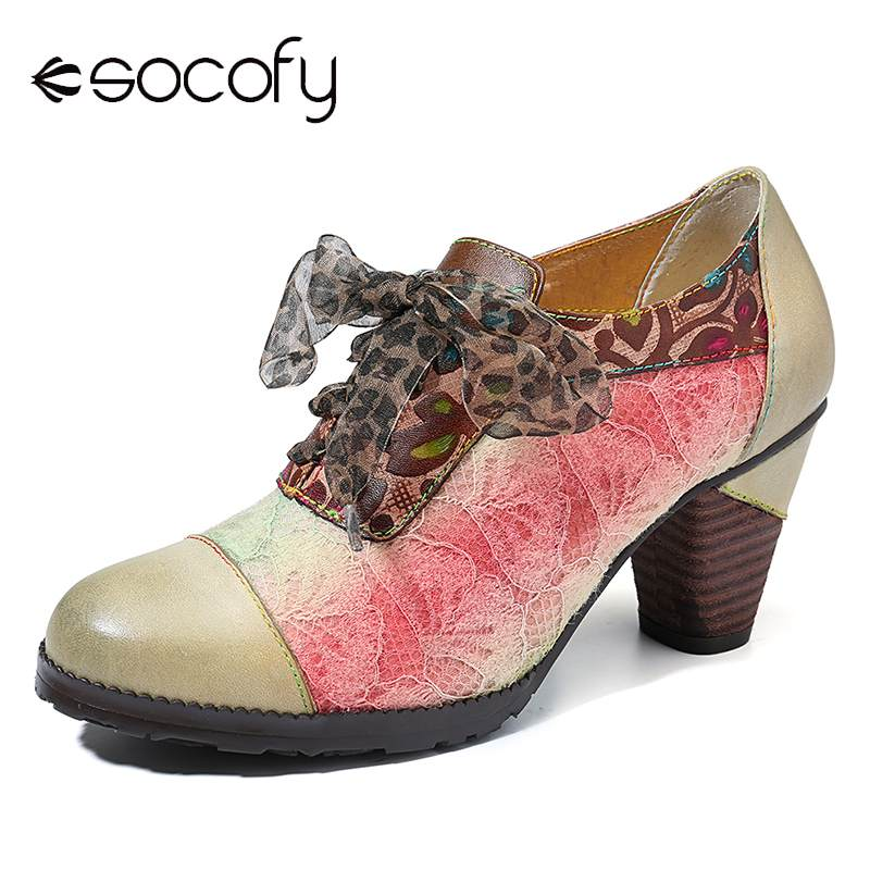 SOCOFY Elegance Genuine Sandals Women	Leather Splicing Lace Retro Pattern Comfortable Lace Up Pumps Elegant Shoes Woman 2020