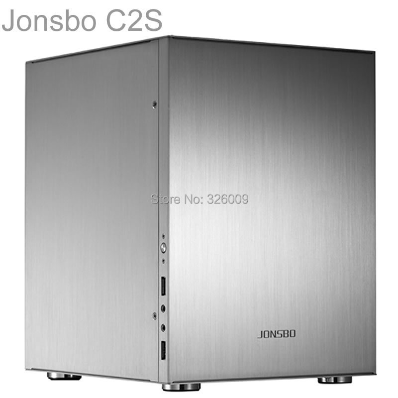 Jonsbo C2 Silver C2S HTPC ITX Mini computer case in aluminum support 3.5'' HDD USB3.0 Home theater computer realan aluminum mini itx desktop pc case e i7 with power supply cd rom slots black silver
