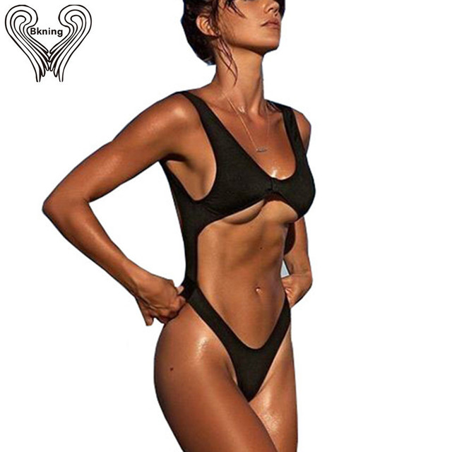 7ea7a4618af72 Bkning 2018 Summer New Sexy High Cut One Piece Swimsuit Women Swimwear One  Pieces Monokini Bather Beach Backless Bathing Suits