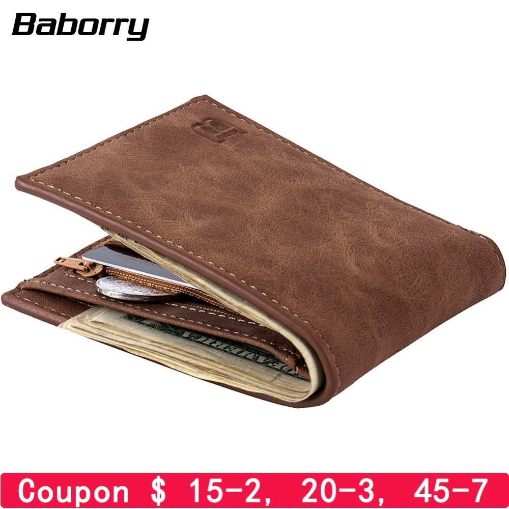 Fashion 2019 Men Wallets Mens Wallet With Coin Bag Zipper Small Money Purses New Design Dollar Slim Purse Money Clip Wallet(China)