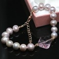 Fashion freshwater natural pearl beads 9-10mm special diy bracelet pink crystal party jewelry B1404