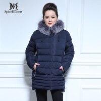 SpiritMoon 2016 New Arrival Down Jacket Fashion Winter Coat Women Fox Fur Bio Fluff Thick Cotton