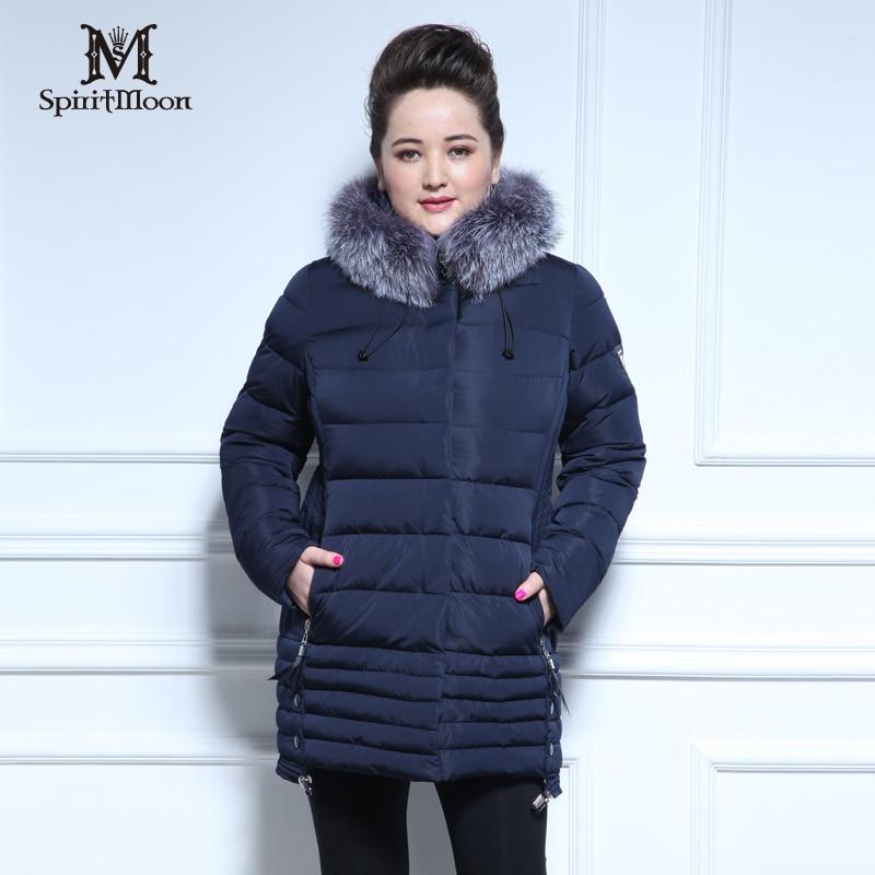 SpiritMoon 2016 New arrival Down jacket Fashion winter coat women fox fur Bio Fluff Thick Cotton jackets Plus Size Woman Coat