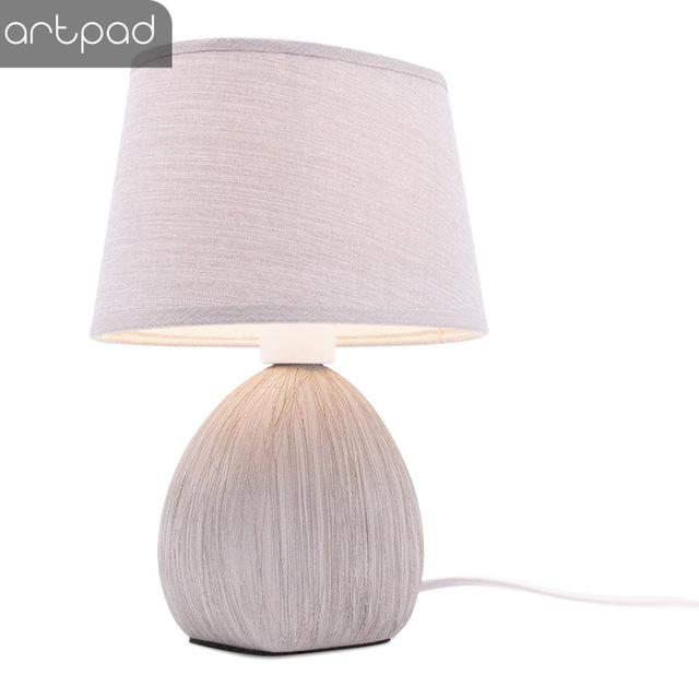 US $27.12 22% OFF|Artpad Modern Art Design Ceramic Table Lamp Fabric  Lampshade Living Room Bedroom Decorative Lamps for the Room Home Fixture  E14-in ...