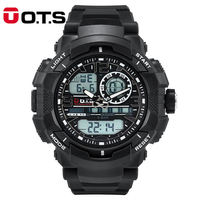 New arrivals Mens sports Watches Quartz OTS brand 50m Outdoor Waterproof Multifunction Analog LED Digital Military Watch