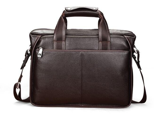 ФОТО Classical 100% Cow Leather Bag Genuine Leather Men Business Handbags Cowhide Men Shoulder Bag Men's Travel Bag Black & Brown