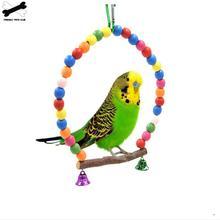 Натуральные Деревянные попугаи качели игрушка жердочка для птиц Подвесные качели клетка с красочными бусинами колокольчики игрушки товары для птиц 3615