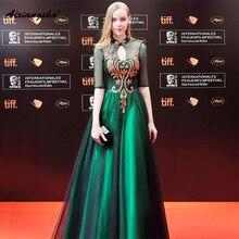 2018 New arrival Half Sleeves Green High-Neck Floor-Length Appliques Lace A-Line Long Elegant Celebrity Dresses Party Dresses