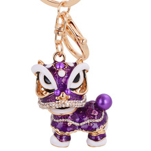 Creative Key Chains Small Gift Chinese Lion Dance Bag Ornaments Ancient Mascot Fashion Crystal Animal keyring Enamel Souvenirs
