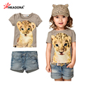 HAKOONA 2016 Summer Baby Girls Leopard Sets 2PCS Shorts Suit Leopard Print T-shirts+Short Denim pants Kids Clothes