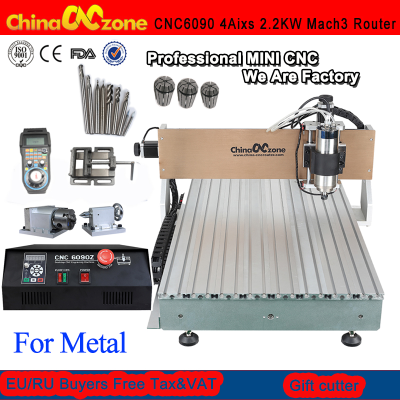 CNC 6090 2.2KW 4Axis Router CNC Engraving Machine LPT USB DSP Port Water Cooling Carving Machine Ball Screw Cutting Machine