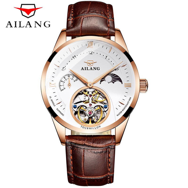 AILANG New Mechanical Watches Men Automatic Moon Phase 50M Waterproof Watch Tourbillon Male Fashion Leather Strap WristwatchAILANG New Mechanical Watches Men Automatic Moon Phase 50M Waterproof Watch Tourbillon Male Fashion Leather Strap Wristwatch