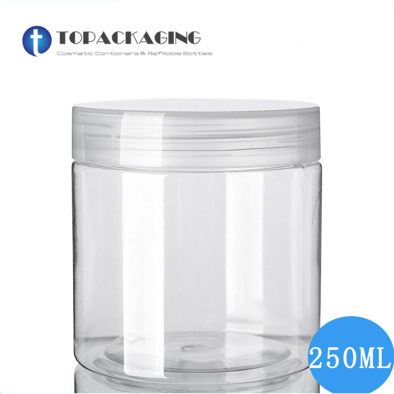 30PCS LOT 250G Cream Jar Empty Cosmetic Container PET Plastic Cream Containers Clear Cans With Screw
