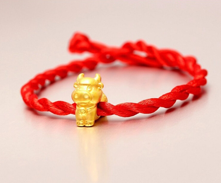 Fashion Arrival 3D 999 24K Yellow Gold 12 Chinese Zodiac Cute Cow knitted Bracelet цена