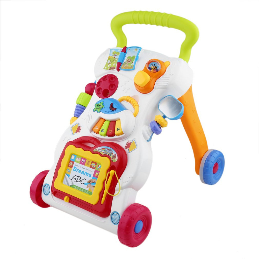 Hot Sale Baby Walker Toddler Walking Assistant Multifunctional Music Handcart Infant Trolley Sit-to-Stand Walker First Step Cars