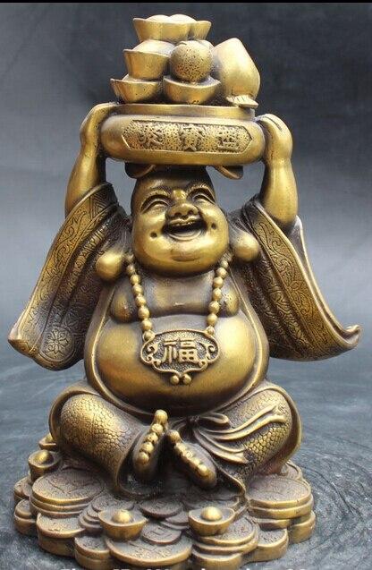 006901 10 Chinese Bronze Yuanbao Treasure Bowl Happy Laugh Big Maitreya Buddha Statue buddha bronze statue statue poseidon statue of liberty collectibles - title=