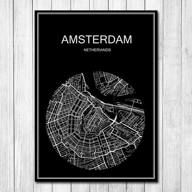 Online Shop Amsterdam Round World City Map Vintage Retro Poster