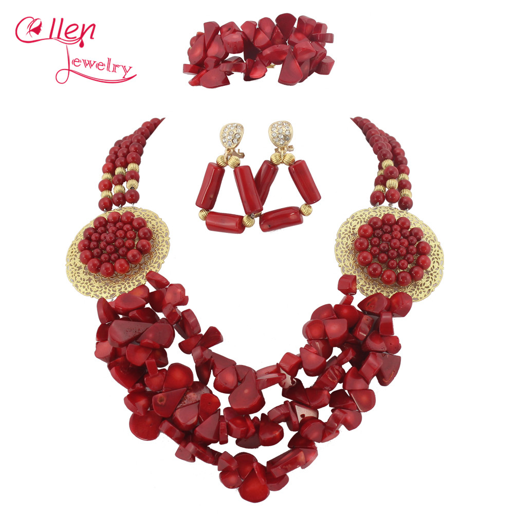Nigerian African Wedding Coral Beads Jewelry Set Orange Coral Jewelry Set Necklace Bracelet Earrings Sets TL1498 costume african red coral beads necklace bracelet earrings jewelry set nigerian wedding jewelry sets free shipping cj240