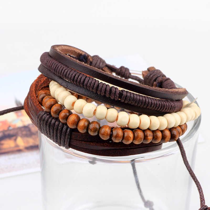 Fnixtar ręcznie opasek na rękę biżuteria w stylu Punk nowa moda skórzana bransoletka mężczyźni wielowarstwowe koralik bransoletka dla kobiet mężczyzn