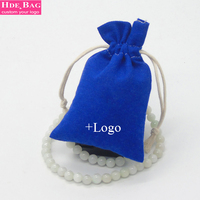 Royal Blue Custom Logo Wedding Favors And Gifts Cotton Linen Packing Bag For Tea Candy Sweet