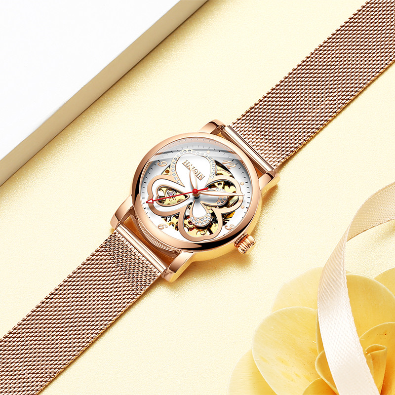 HAIQIN Top Brand Fashion Elegant Women Mechanical Wrist Watch Leather Watchband Female Automatic Clock Skeleton Dial Ladies Gift