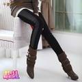 I 2013 autumn maternity clothing fashion autumn and winter trousers belly pants trousers leather pants plus velvet thickening