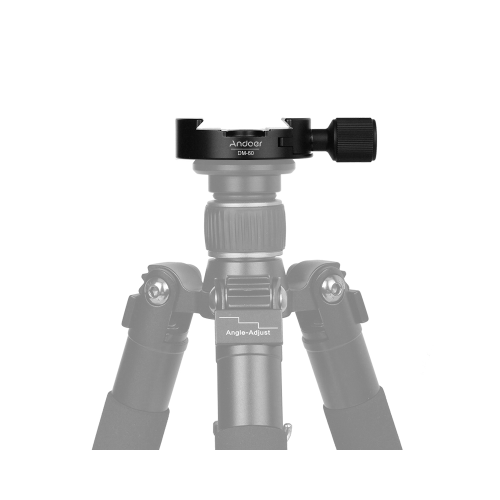 Andoer DM-60 Quick Release Plate Clamp 60mm Aluminum Alloy 3/8-inch with 1/4-inch Adapter / Bubble Level for Arca Swiss QR Plate