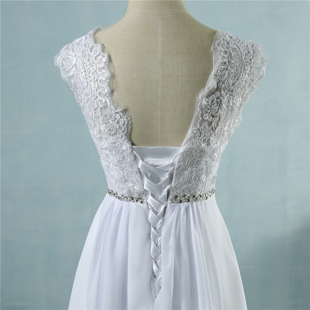 Beach Crystal Lace Applique Simple Wedding Dress