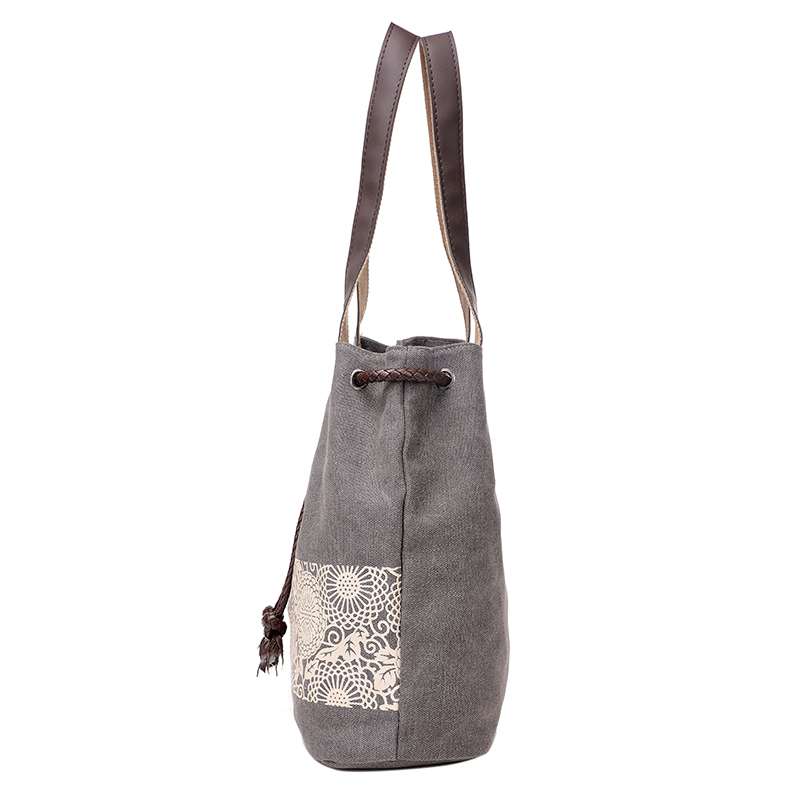 Vintage Flower Printed Canvas Women Drawstring Bucket Shoulder Bags Retro Female Beach Handbags Casual Messenger Shopping Bag in Shoulder Bags from Luggage Bags