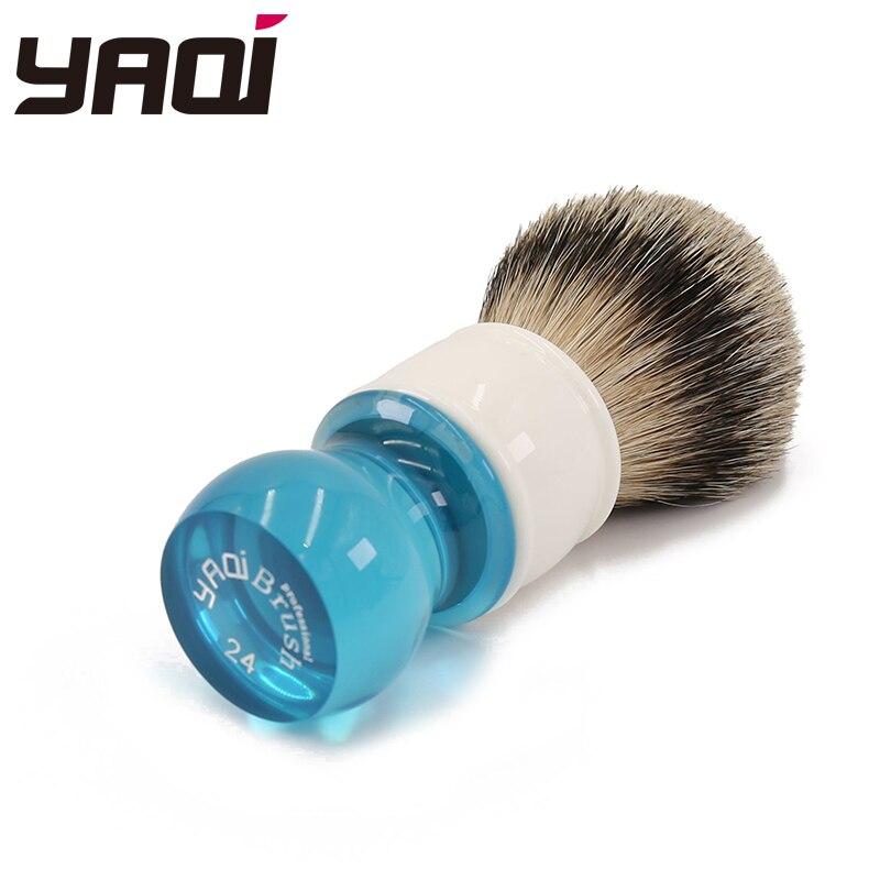 Yaqi 24 millimetri Aqua Highmountain Silvertip Peli di Tasso Pennello Da Barba-in Pennello da barba da Bellezza e salute su  Gruppo 2