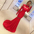 Miel Qiao Rojo Del Cordón de La Sirena Vestido de Noche con Manga Larga 2017 Cuello alto Barrer de Tren Longitud Del Piso Robe De Soirée Vestidos Formales