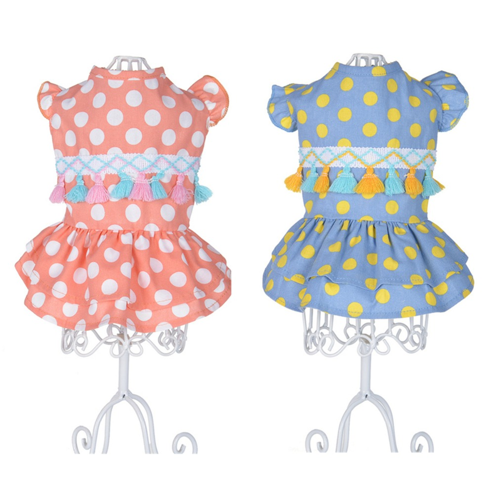 C89 New Spring Summer Dog Dress Clothes Dot Print Puppy Dog Cats Princess Skirt Dresses For Small Medium Dogs product supplies