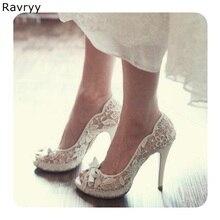 Flor del cordón de tacón alto de la Mujer Zapatos de vestido de boda  elegante recortes peep toe sexy bombas slip-on Mujer . e6e0df033fd0