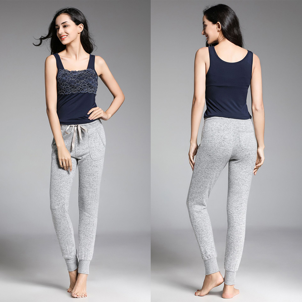 Autumn And Winter Models Women Modal Knit Cotton Pajamas Large Size Closure Home Pants Can Be Worn Casual Pants