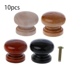 New Arrive 10PCS Natural Wood Cabinet Drawer Pull Handles With Screws Wardrobe Door Knobs(China)