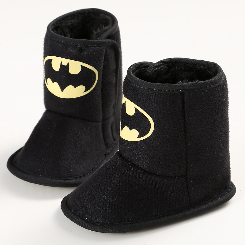 Winter Warm Baby Boys Batman Shoes First Walkers Velvet Boots Booty Crib Babe Toddler Boy Shoe For 0-1 Year DS19