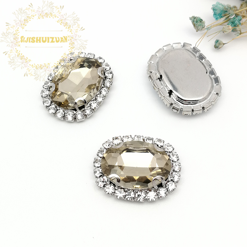 Light coffee Oval Shape Drill Side Chain Crysta Glass Sewing Rhinestones with Claw DIY Womens Shose and Wedding Dresses
