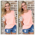2016 New Fashion Women Summer Short Sleeve  Lace Blouse Casual Shirt Tops