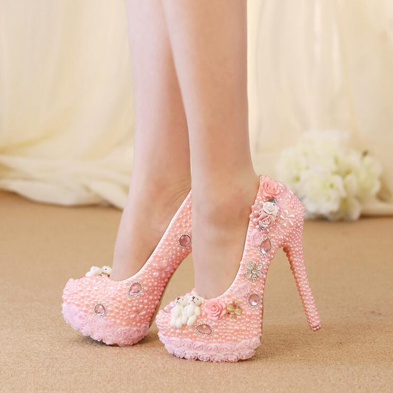 Wedding High Heel Shoes Gorgeous Design Crystal Bridal Dress Shoes Pink Color Pearl Lace Flower Platform Birthday Party Pumps купить